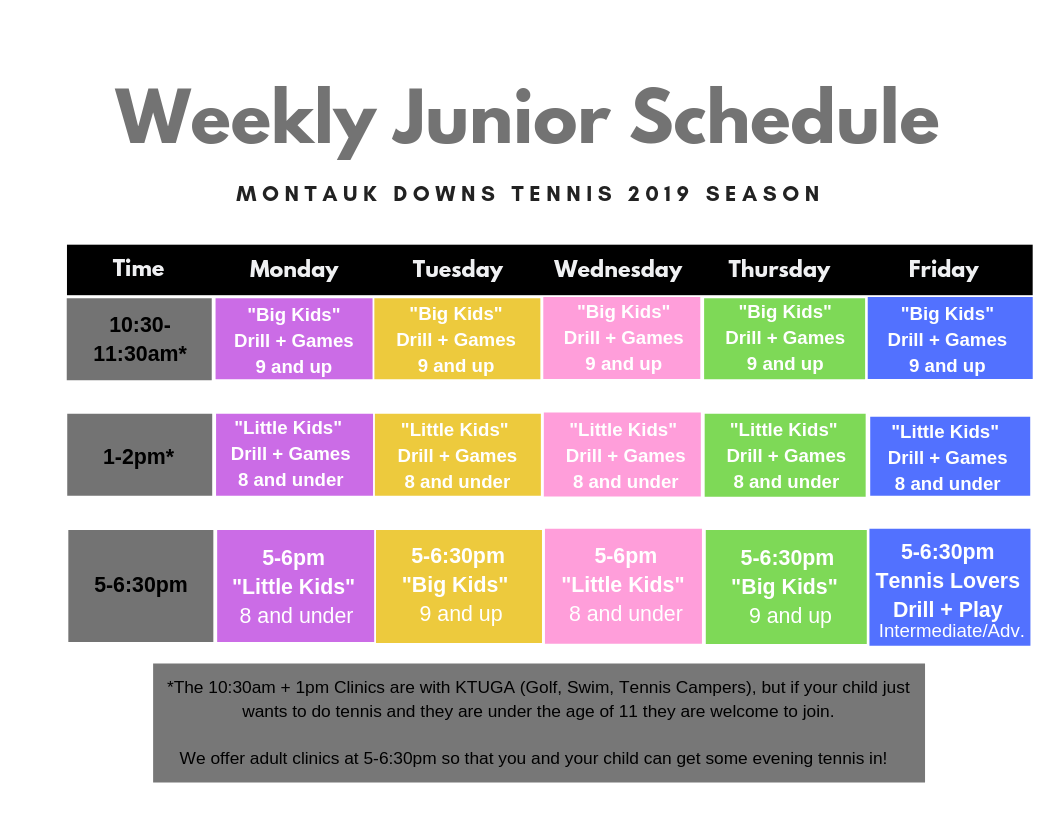Weekly Kids Schedule Montauk Downs Tennis 2019