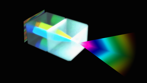 Light from an RGB pixel is collimated, then focused into a Ray (which is really more like a cone)