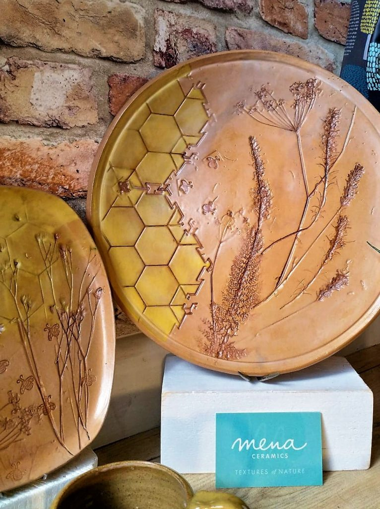 Plates from Mena Ceramics' Bee Collection