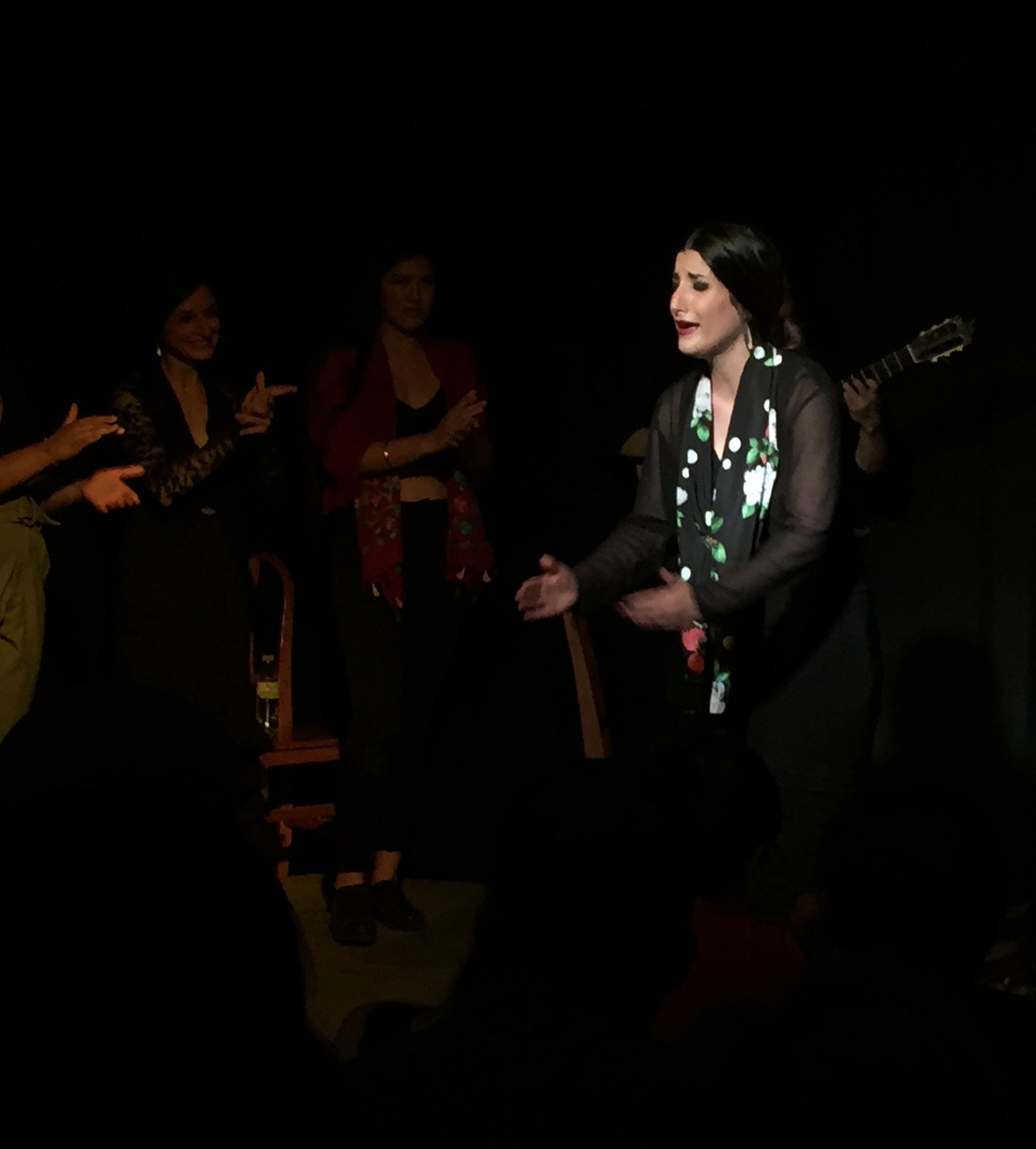 Singer Cristina Regajo Bravo performing in a  fin de fiesta  at Zenith in Seville