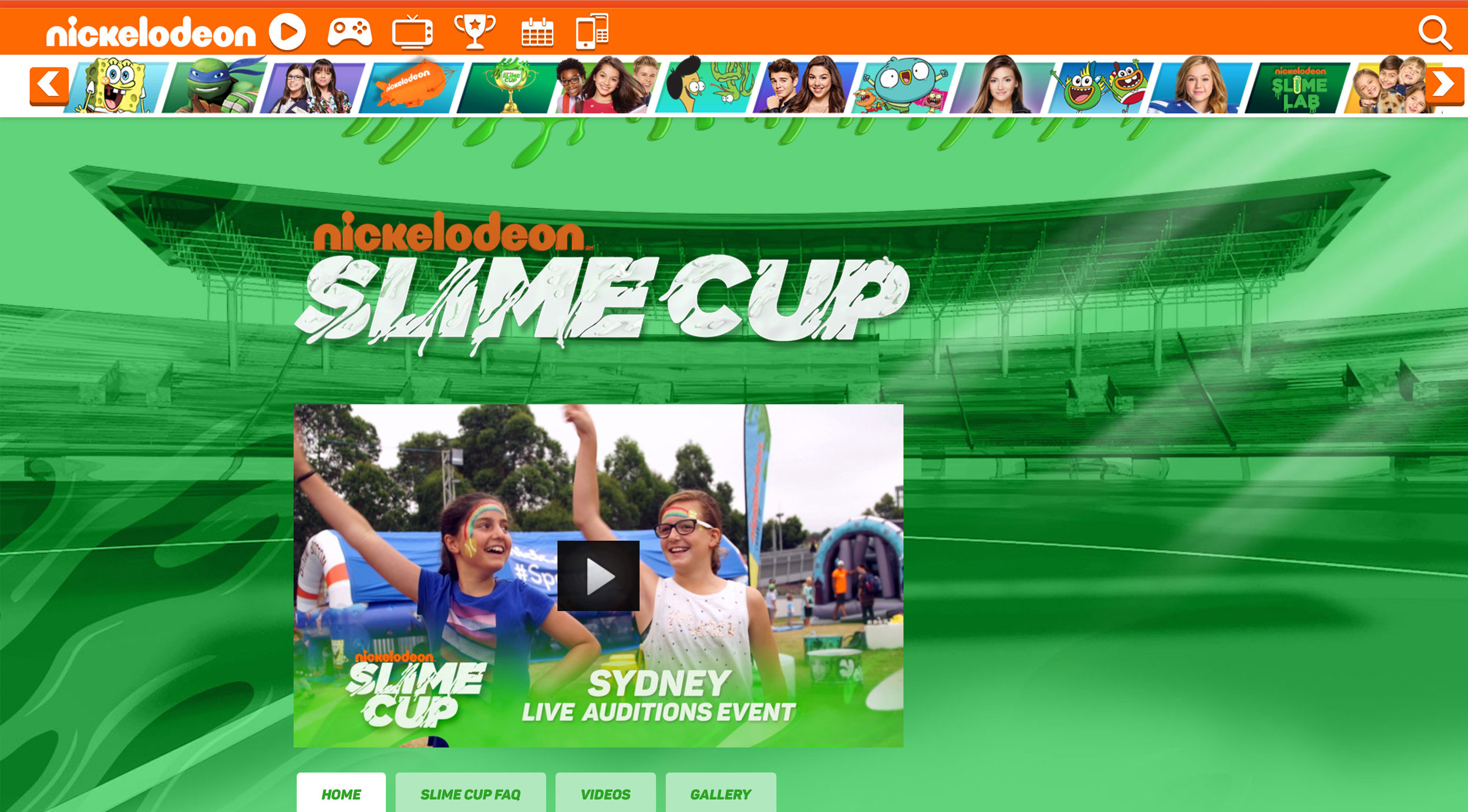 Design style frame 01 for Nickelodeon Slime Cup Website