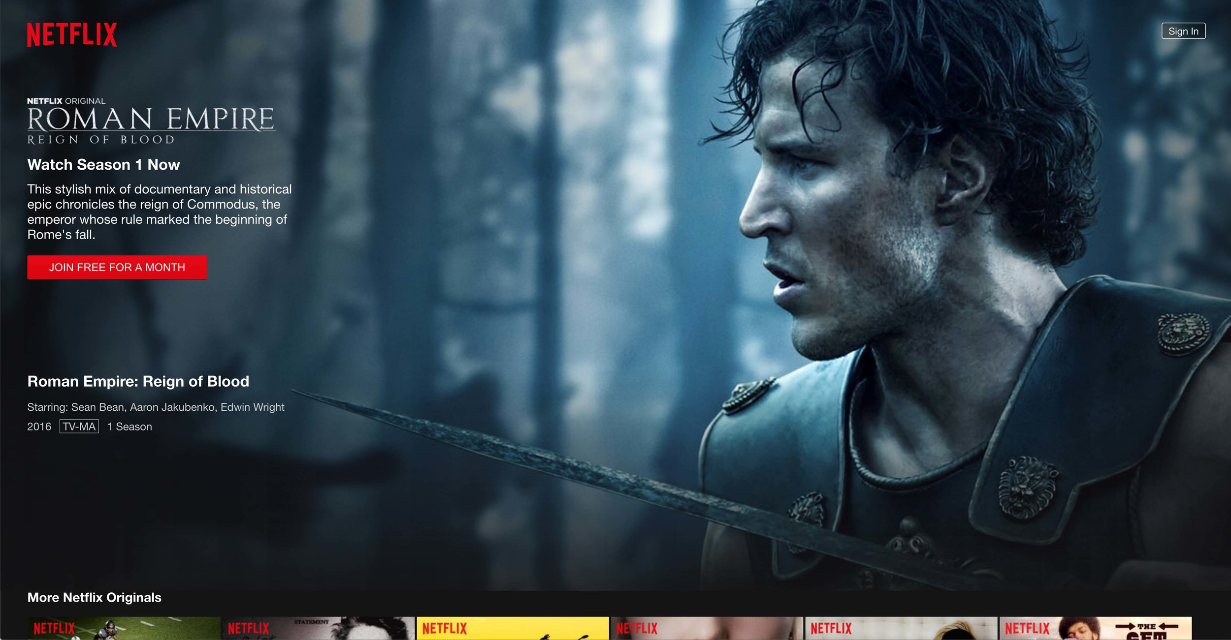 Netflix interface reference of Roman Empire: Reign of Blood