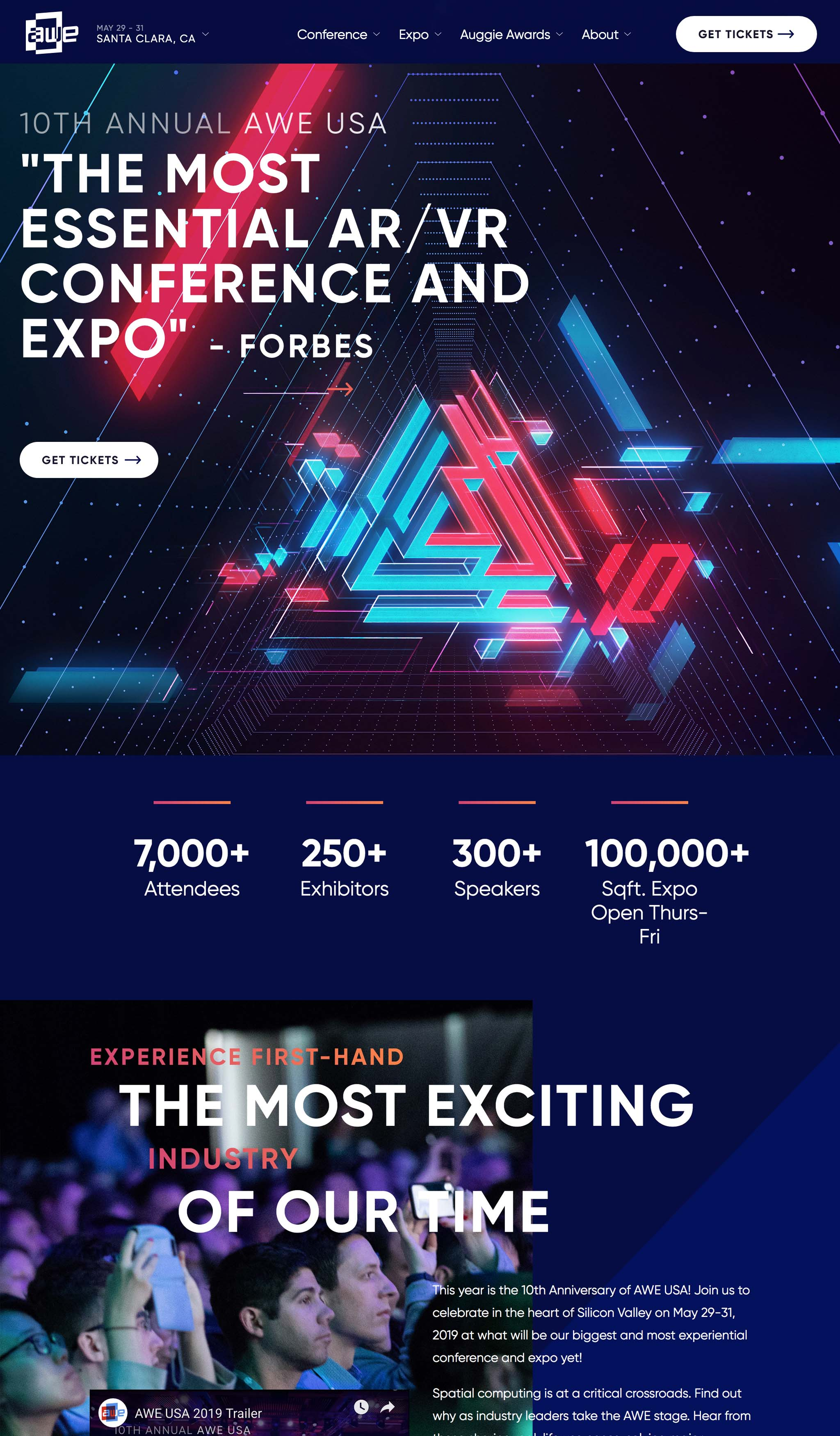 Design style frame 02 for AWE 2019 visual theme website and social banner