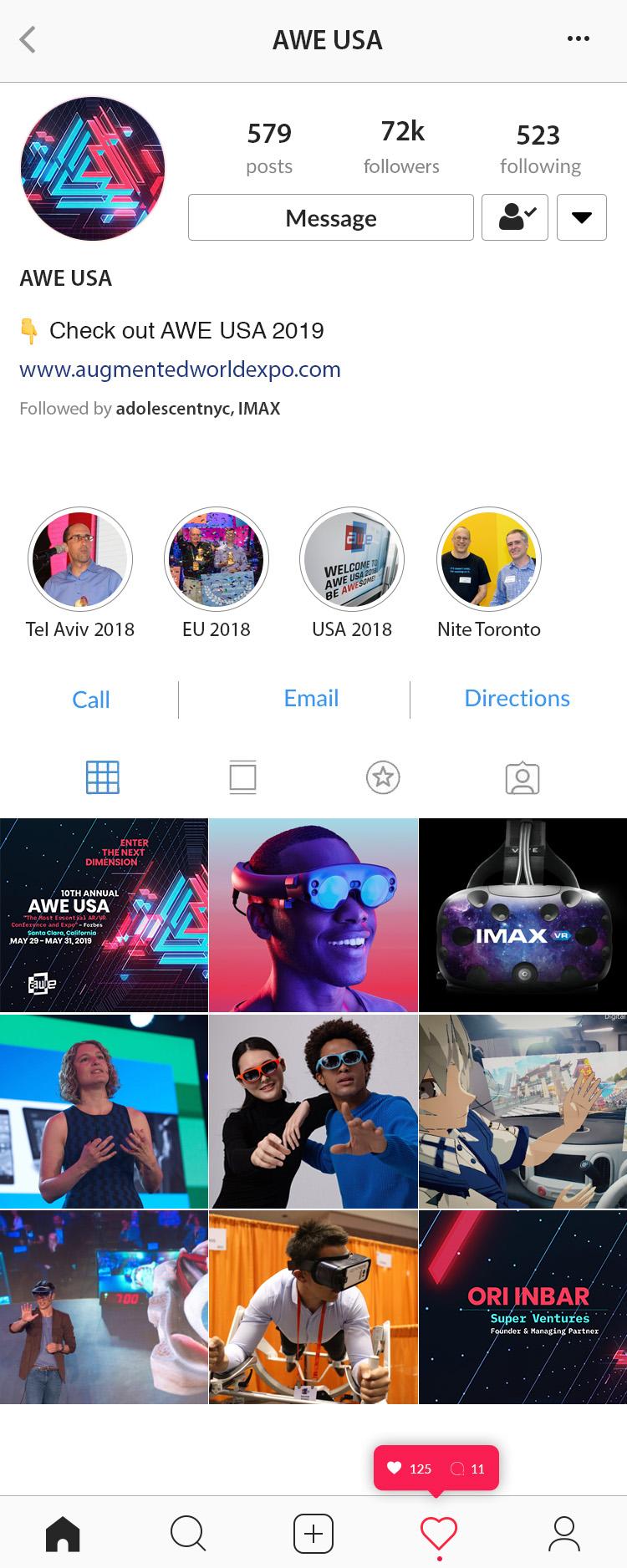 Social screenshot of AWE 2019 visual theme designs