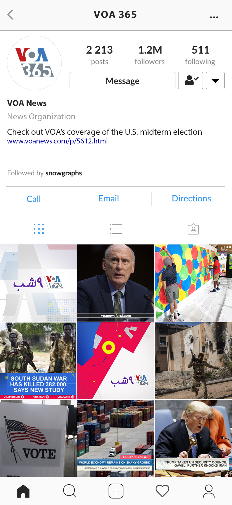 Social screen shot of Voice of America 365 Instagram page