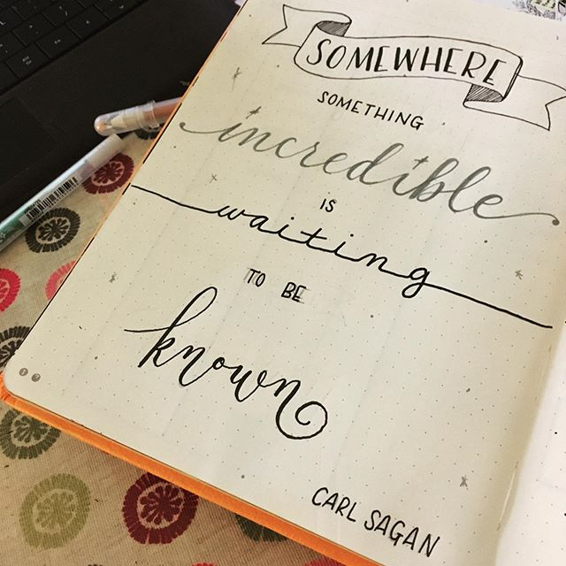 #carlsagan #carlsaganquotes #billionsandbillions #bulletjournal #bujo #bujoquotes #handlettering #calligraphy #leftiecalligraphy #bujolettering #education #knowledge #teaching #discovery