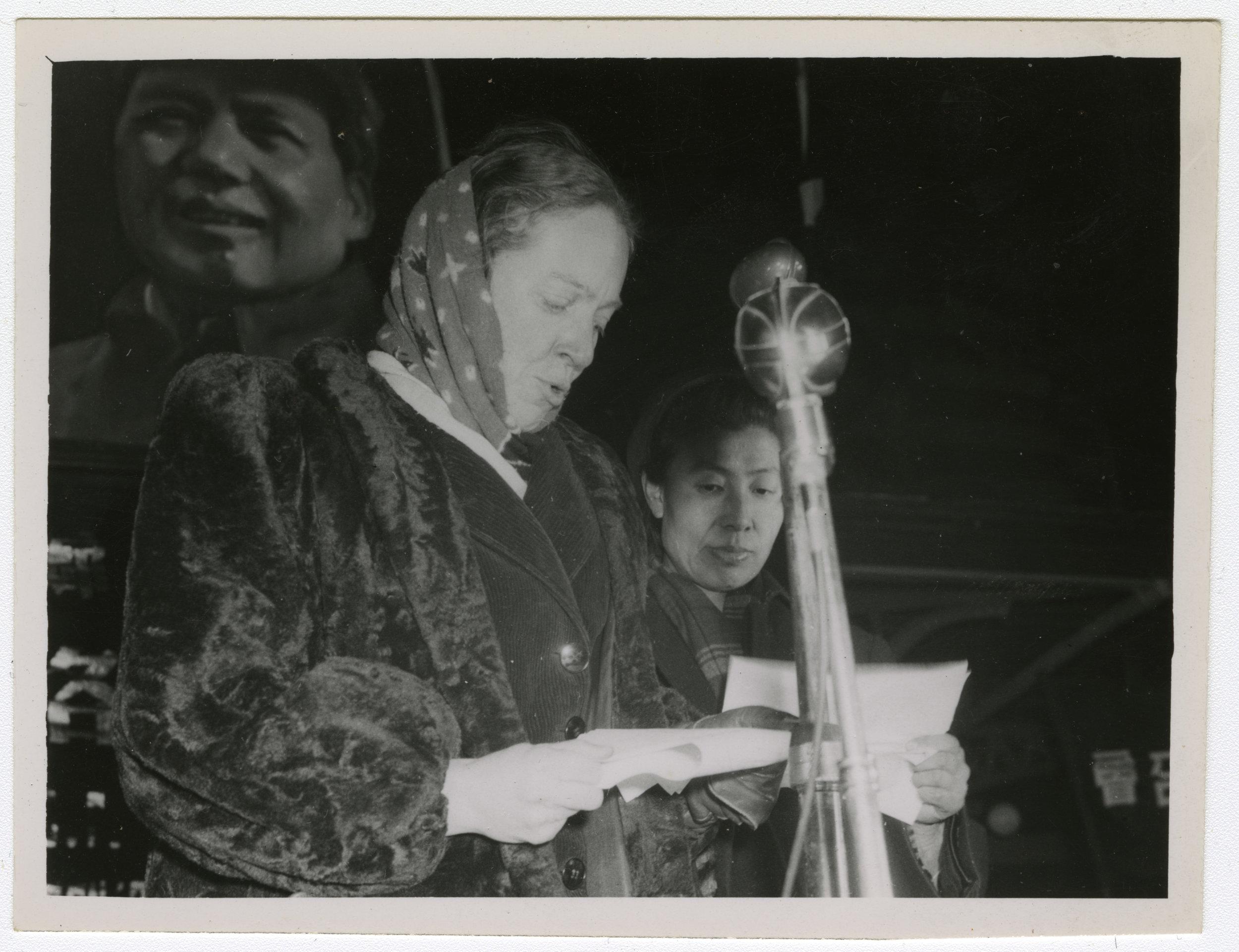 Beijing 1949.speaker translator and Mao.jpg