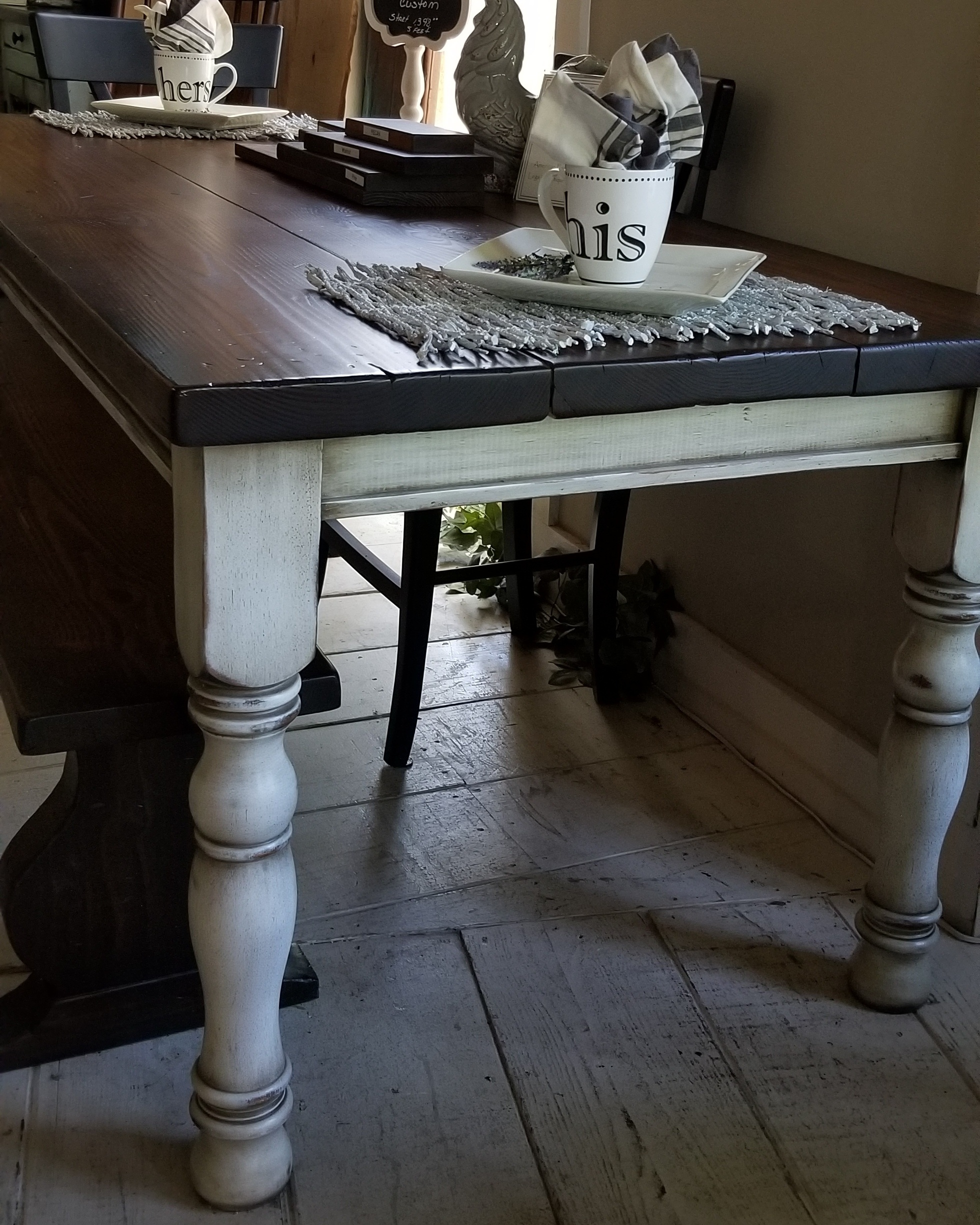 Farm Table-Our Farm Table is our classic legged table. We offer many choices of legs and many different species of soft and hard woods. Available in our huge selection of stain and paint colors.Pricing starts at $1,395 for 5'. -