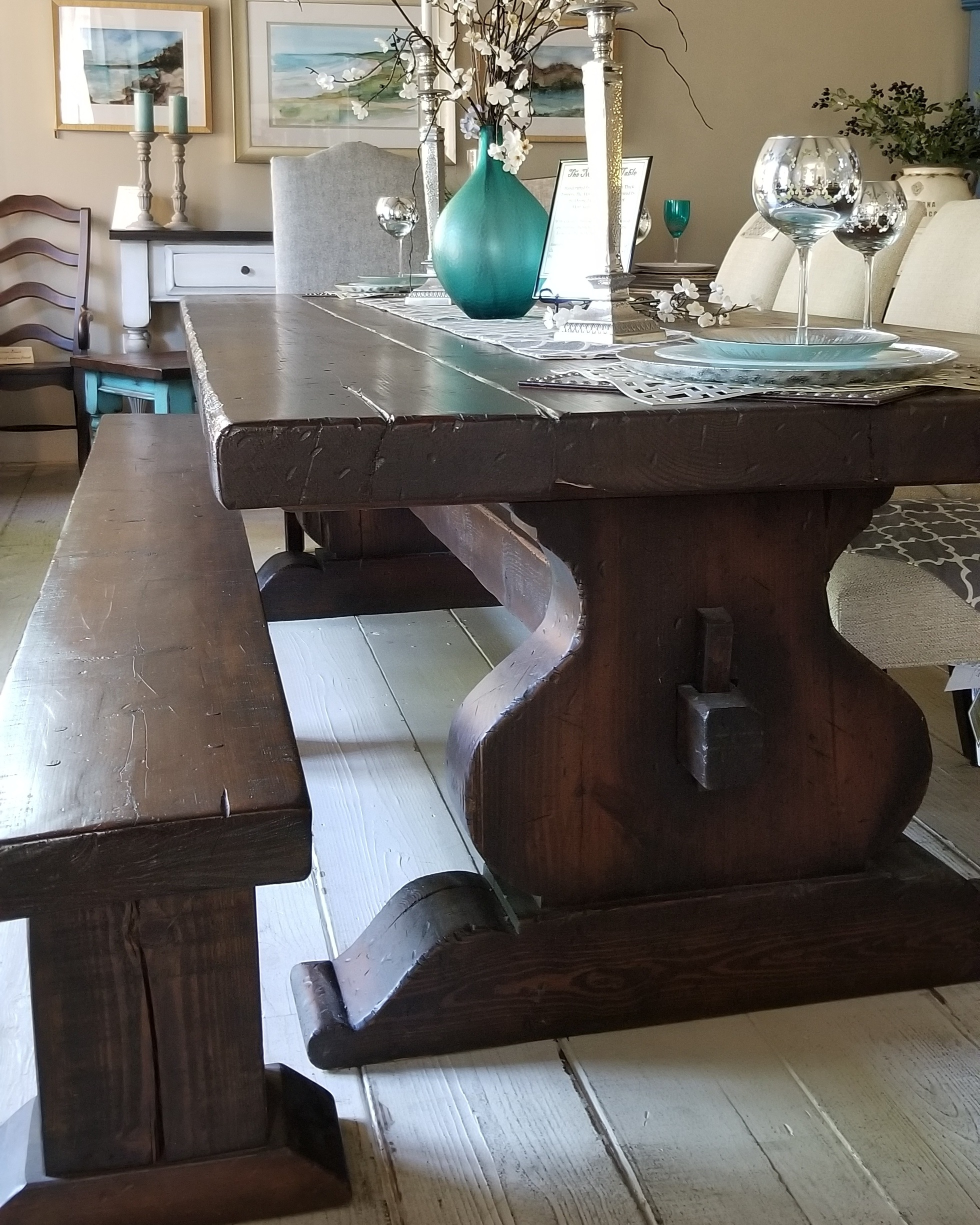 """Monastery Table-Our Monastery Table is a trestle table that is our signature design. This table is made of 2.5"""" - 3"""" thick old-growth Texas Loblolly Pine. The Monastery Table offers a variety of sizes and stain or paint options.Pricing Starts at $2,595 for 7'. -"""