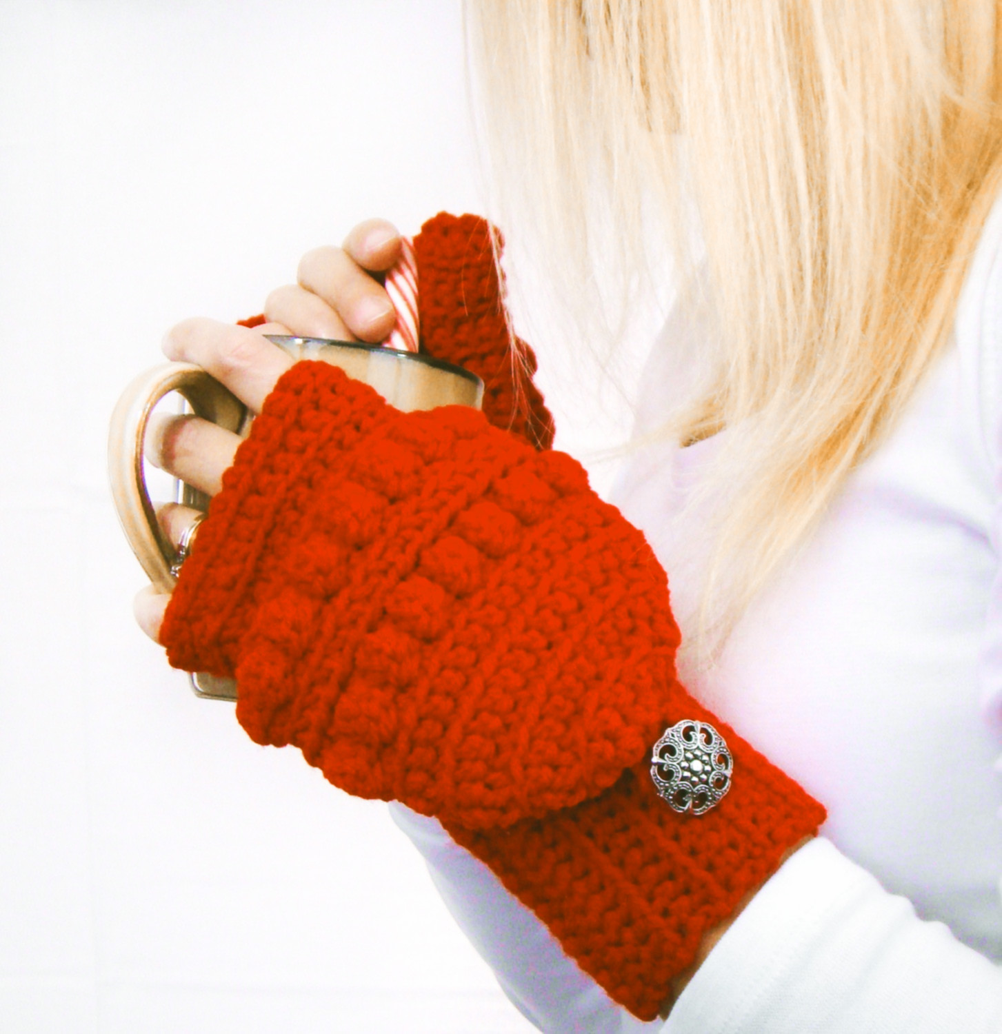 Cherry Red Snowball Convertible Fingerless Mittens by Kristina Smiley.jpg