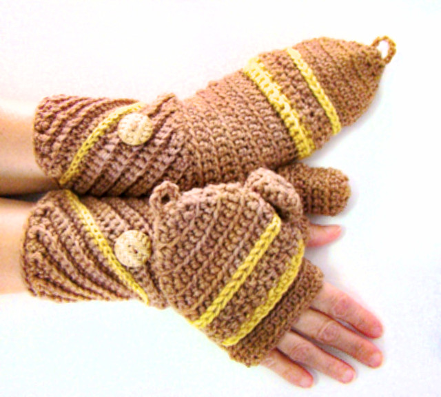 Diagonal Cuff Convertible Fingerless Mittens