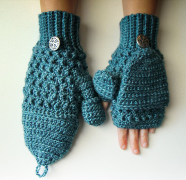 Teal Convertible Mittens