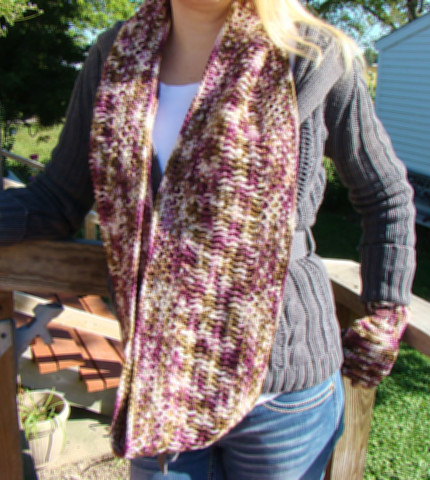 Romantic Vineyard Tunisian Crochet Infinity Scarf