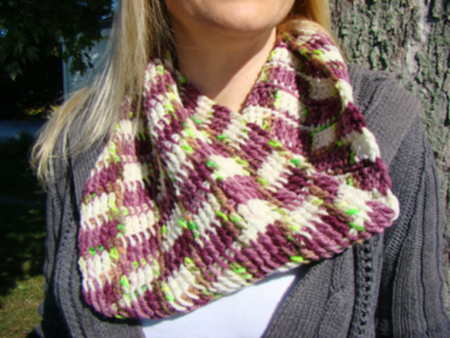 Rose of Sharon Tunisian Crochet Infinity Scarf