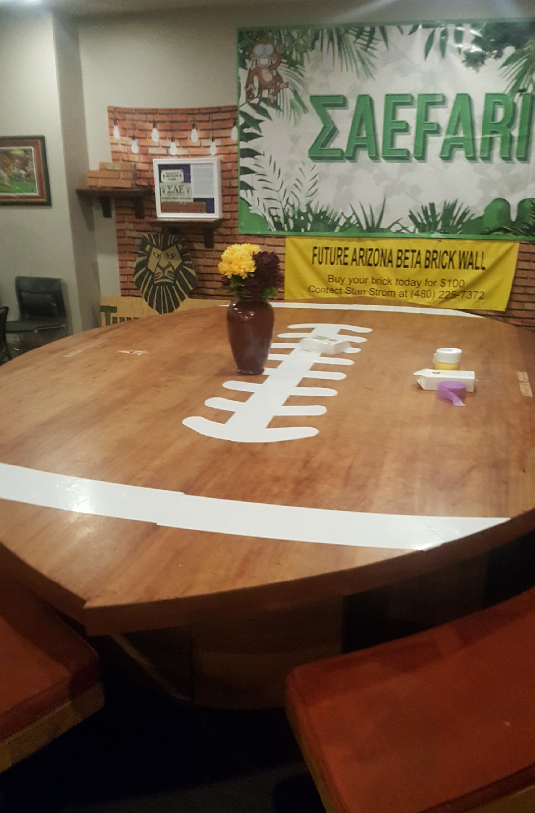 2,800 pound 14' solid walnut table for ASU chapter