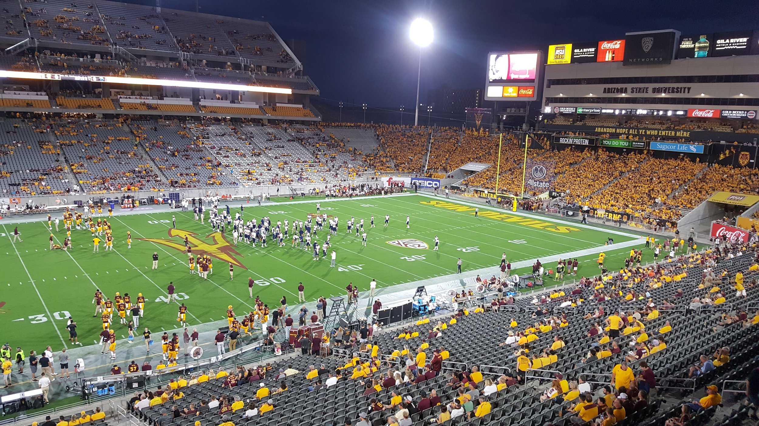 Pre-game stadium warmups for a Sun Devil victory