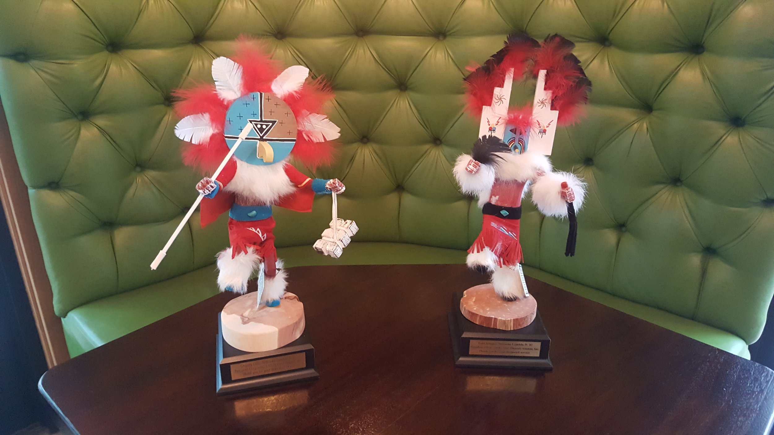 "Kachina Awards - Past Presidents of the SAE Phoenix Alumni Inc Greg Gillis and Todd Stingley were recognized with southwest authentic kachinas to represent ""Chief"" and ""Harvest"" since these Nebraska Cornhuskers have helped lead and sow seeds to grow this alumni association."