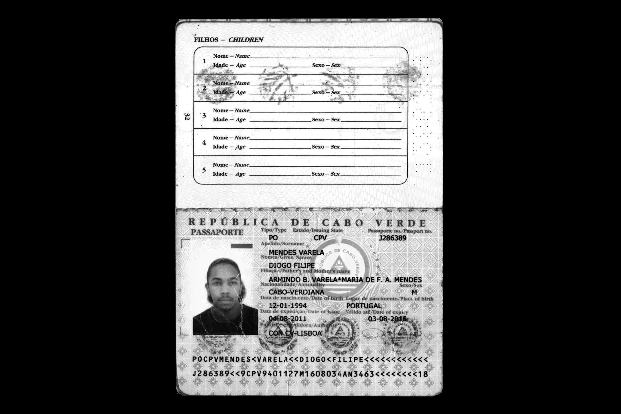 Cape Verdean passport - Diogo was born in Portugal and despiste never visiting the country he is only recognised as a cape verdean citizen.