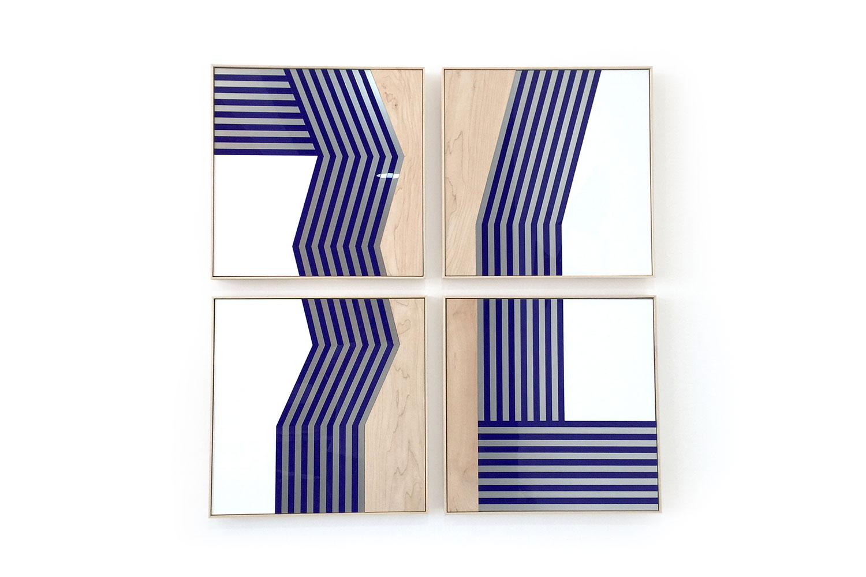 4 frames / 50 X 50 cm X 4 - Polymethyl methacrylate – aluminium – wood -
