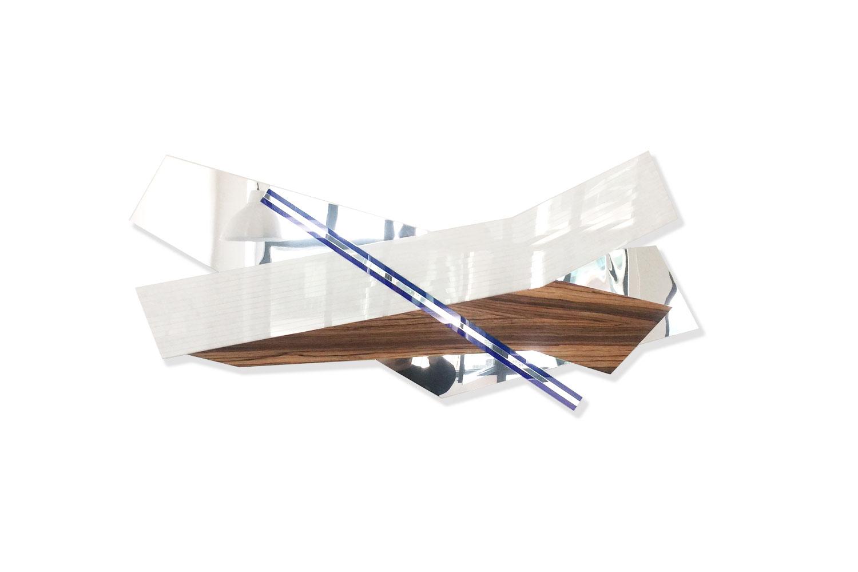 170cm X 70cm - Sculpture polyméthacrylate de méthyle, alluminium poli, bois, miroir.