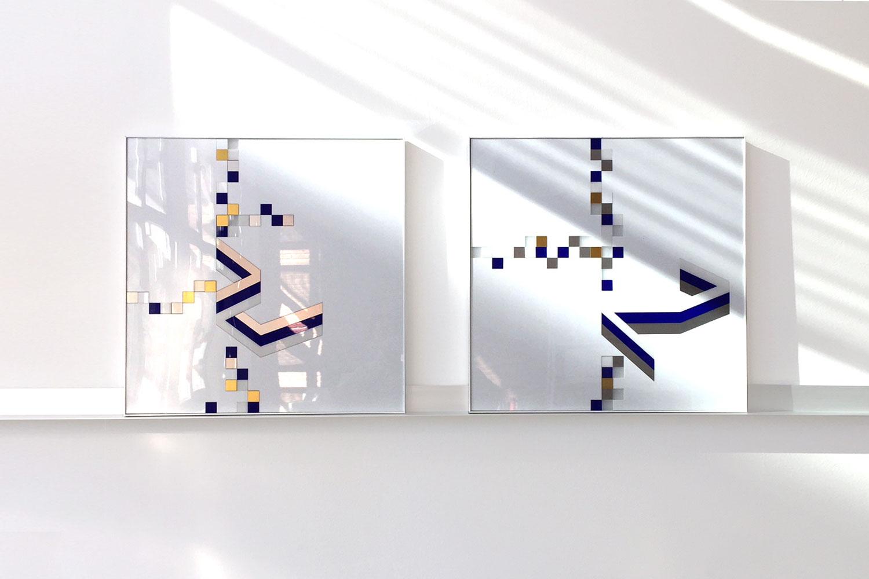 2 frames / 50 X 50 cm - Polymethyl methacrylate – aluminium –