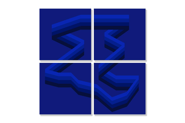4 frames / 60 X 60 cm each - Polymethyl methacrylate – Aluminium -