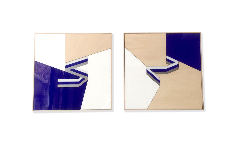2 frames / 50 X 50 cm - Polymethyl methacrylate – aluminium – wood -