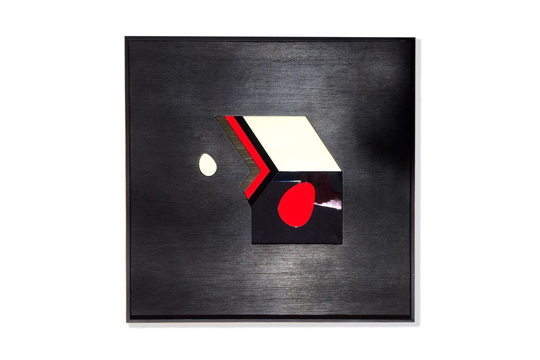Burned wood - polymethyl - aluminum - Acrylic paint - mirror - 50 X 50 cm