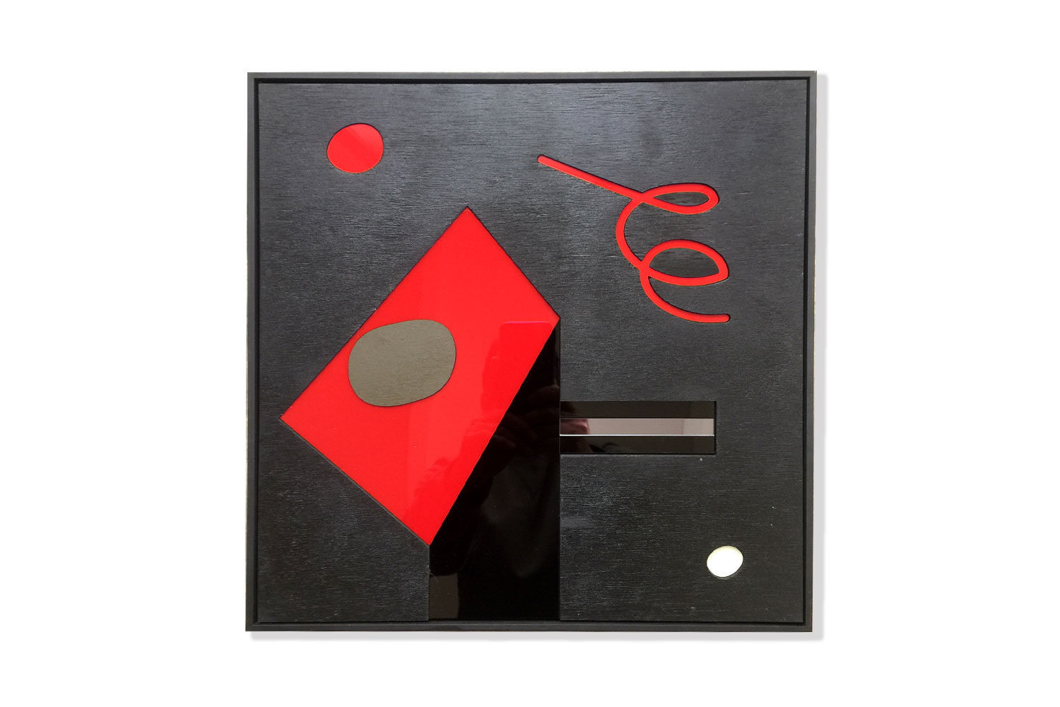 Burned wood - polymethyl - aluminum - Acrylic paint - mirror - 50 X 50 cm