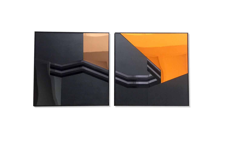 2 frames / 60 X 60 cm - Polymethyl methacrylate – mirror polystyrene - wood -