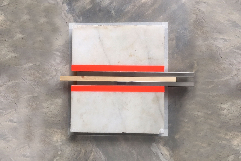 Sculpture / 40 X 40 cm X 8 cm Marble - inox - tape - wood -