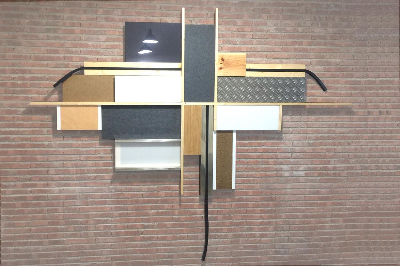 Sculpture / 250 X 150 cm X 8 cm- inox - aluminium - tape - wood - rubber - Polymethyl methacrylate -