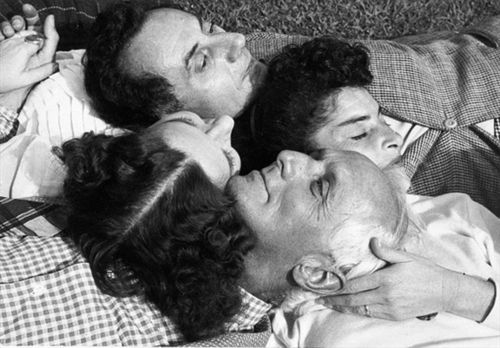 Dorothea Tanning with friends Florence Homolka, Max Ernst and Man Ray.