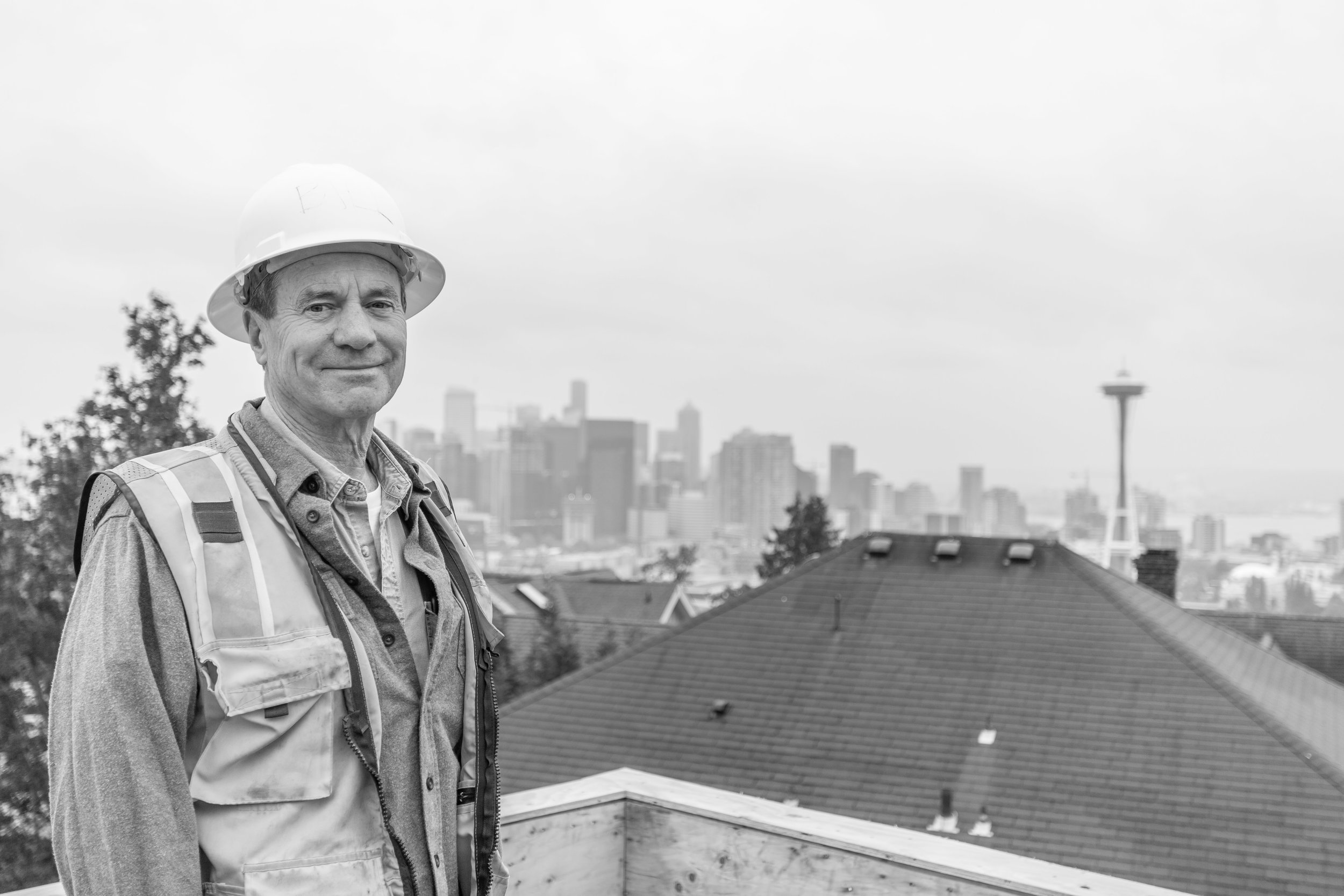 Bill Parks, Atop Lee Street Lofts During Construction