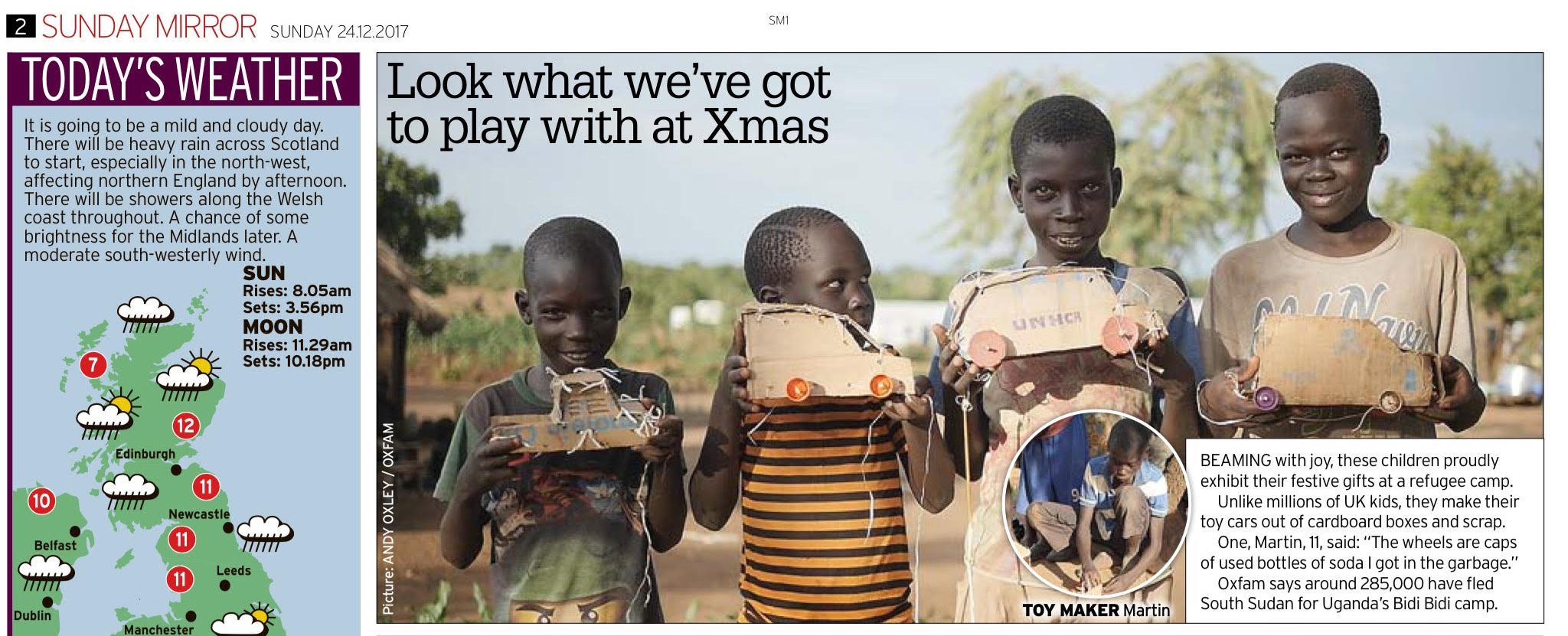 Sunday Mirror - Our film shot in Uganda for Oxfam was published by the Sunday Mirror.
