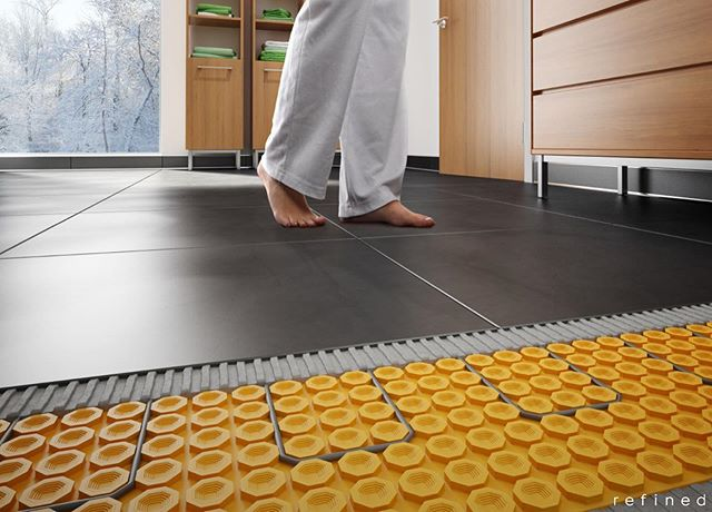 "Schluter®-DITRA-HEAT integrates customizable, comfortable electric floor warming with the functions associated with DITRA: uncoupling, waterproofing, vapor management, and support to ensure a long lasting installation. - The stud structure of DITRA-HEAT is specifically designed to allow for the easy installation of DITRA-HEAT-E-HK heating cablesNominal 1/4"" (5.5 mm) thickness minimizes tile assembly thickness and reduces transitions to lower surface coverings. - Self-leveling compounds are not required to encapsulate the cables into the membraneAvailable by the roll or by the sheet to accommodate various room sizes. - Quick and easy to install and few tools are requiredProvides electric floor warming for use beneath tile, stone, or other resilient floor coverings (e.g. LVT). . . . #RefinedMuskoka #RefinedKitchenAndBath #HomeDesignCentre #KitchenDesign #BathroomDesign #Muskoka #MuskokaLakes #MuskokaLife #CottageLife #HuntsvilleOntario #PropertyPrepCanada #Schluter"