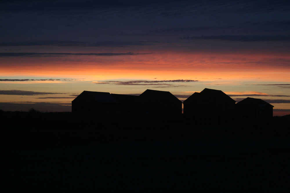 Sunset over the fishermans huts