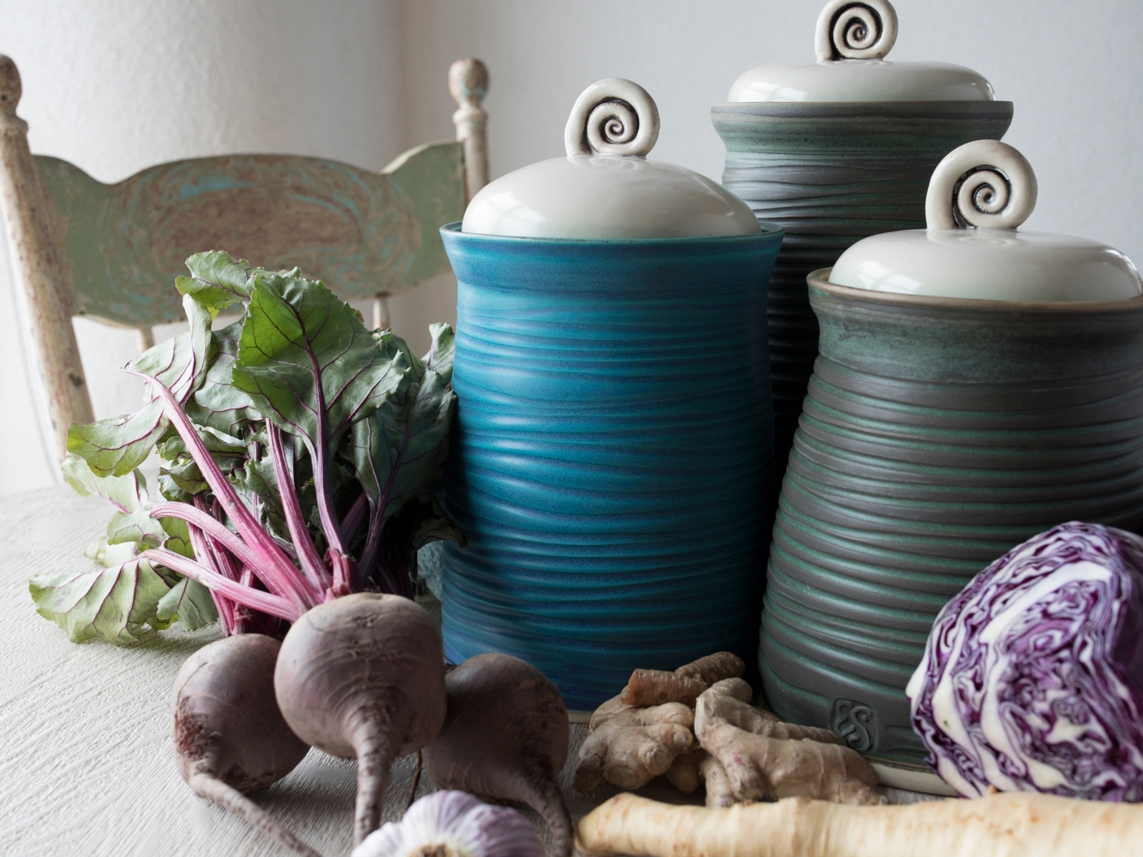 EVERYDAY CLAY - I create items for the kitchen that I personally use. Some items are recreated old-timey pieces that you can't find in fancy kitchen stores. Some are work horses like the fermenting crocks, storage jars and ovenware.