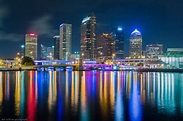Tampa Skyline at Night - Always building.  Picture taken from Tampa Bay and water inlet into Tampa