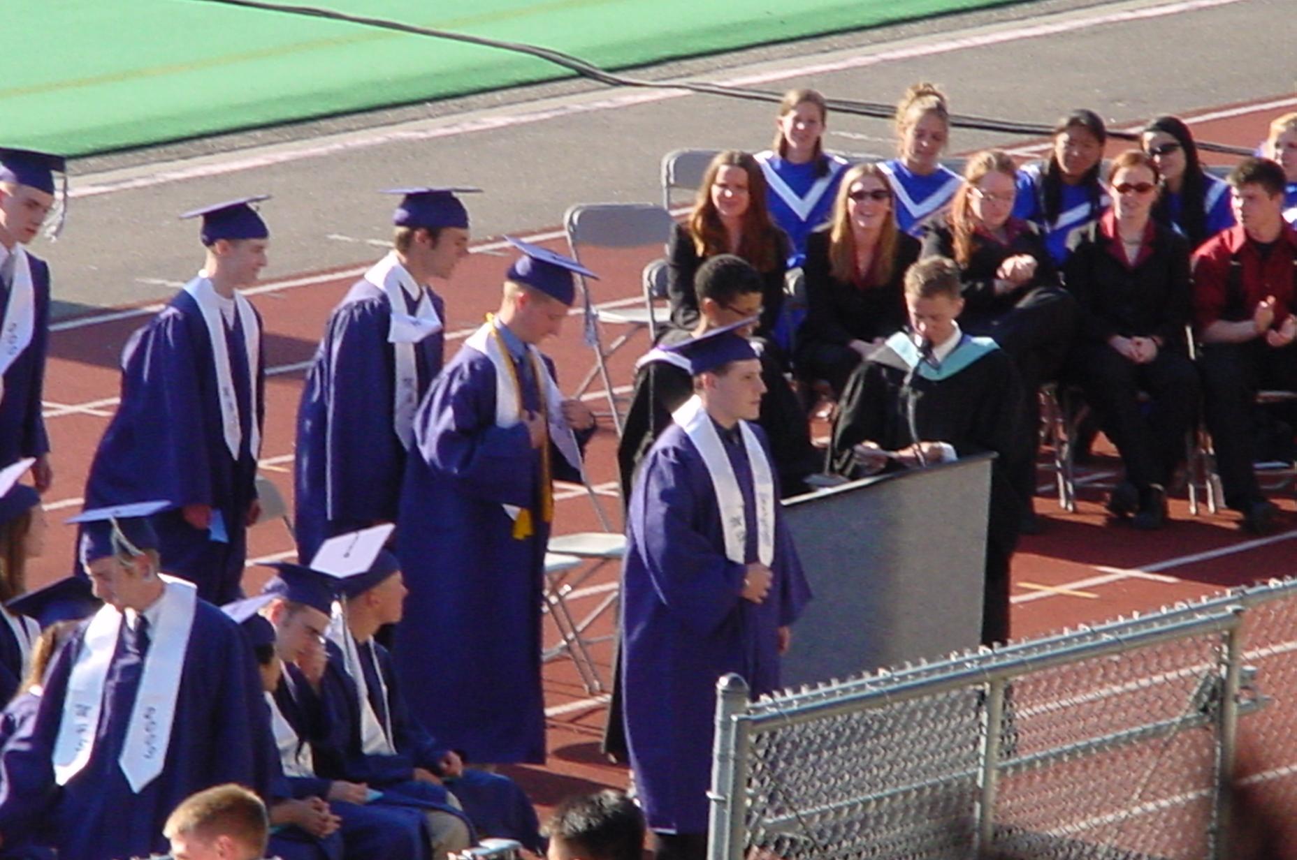 Nancy's older son, Jeff, graduating from Meadowdale High.