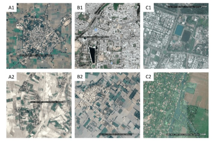 Fig. 1: Regions with (A1) concrete roofs and (A2) thatch roofs, (B1) 100% electricity and (B2) 0% electricity for lighting, and (C1) 85.9% households with tap water and (C2) 99.1% with river/canal as a drinking water source.   Pandey, Agarwal and Krishnan (2018). Multi-Task Deep Learning for Predicting Poverty from Satellite Images