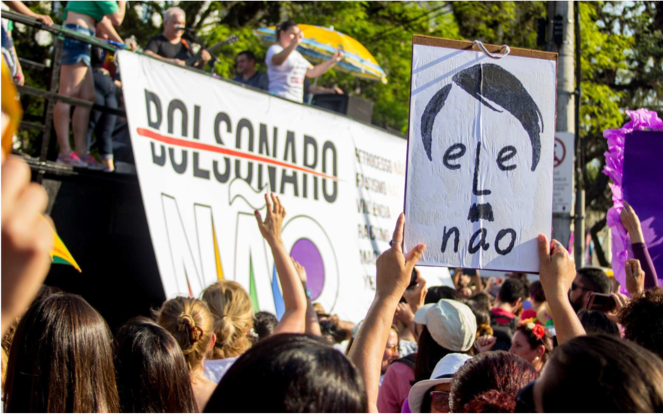 A 'ele não' ('not him') poster protesting against then- presidential candidate Bolsonaro in 2018.  NICOLAS CHIDEM / EDITORIAL J