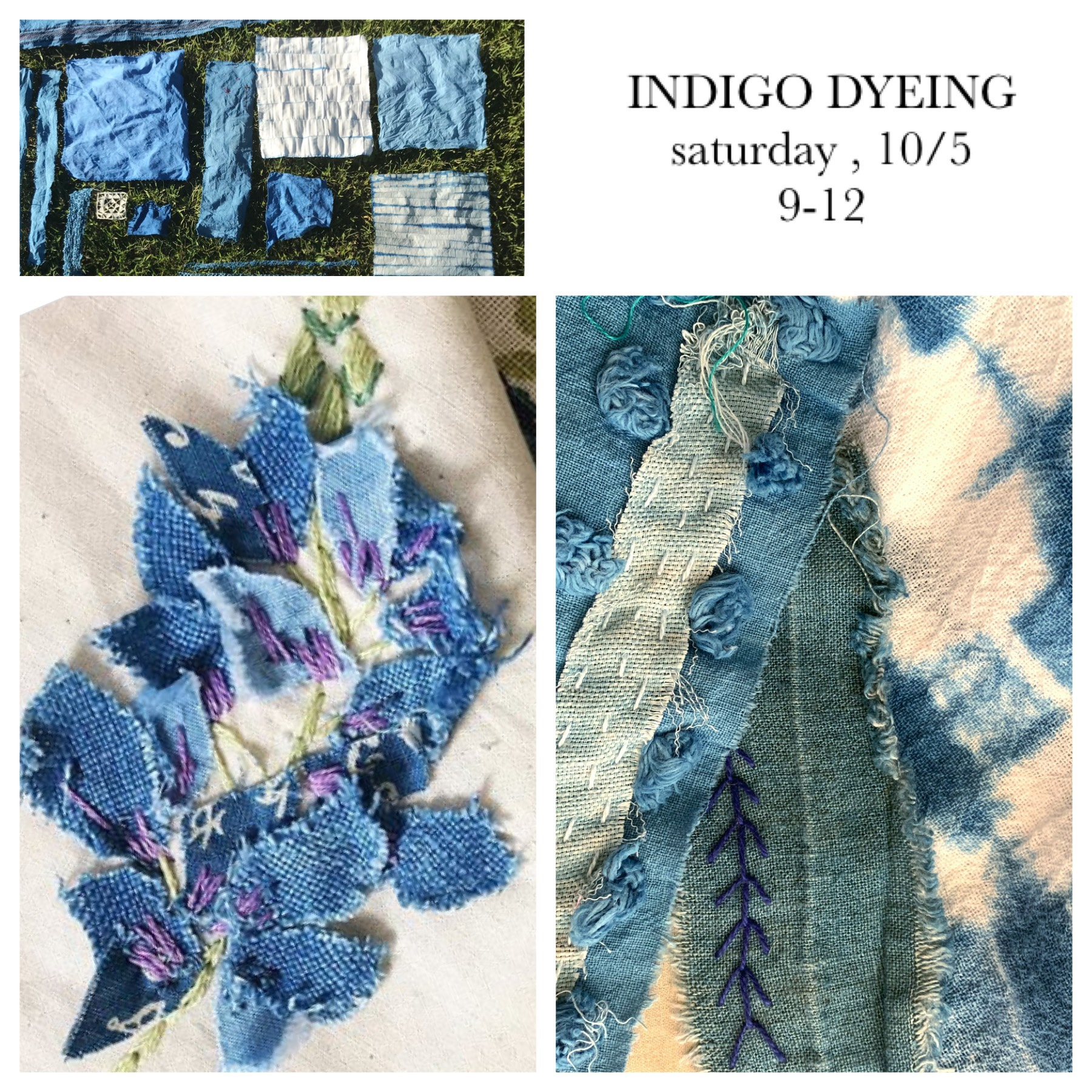 indigo dyeing workshop $65.00 - all materials included but please bring an apron!you may bring a few small linens (like hankies or napkin linens) to dye in addition to the materials we will provide you with! (they must be natural fibers)come experience the complete joy of dyeing textiles in an indigo dye pot! create fabric for your stitch book while learning how to make one-of-a-kind patterns with twisting and folding techniques.