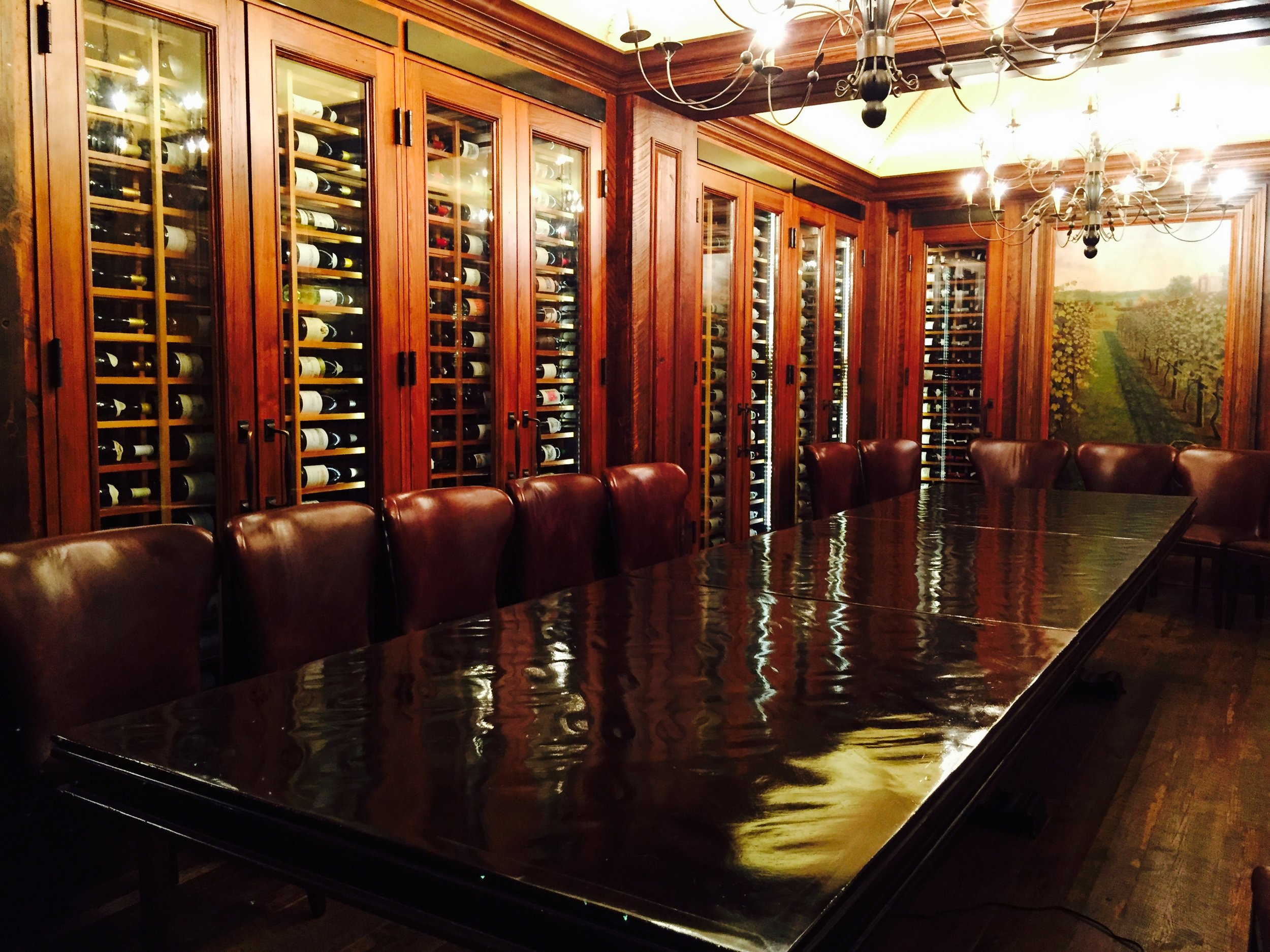 Clair & Co refinished  these tables in a well known  Washington D.C . Wine cellar. We offer excellent  furniture refinishing services . These gorgeous tables were with finished and coated with a semi gloss lacquer..