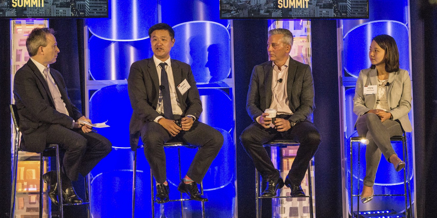 From Left :  Eric Zabinski : Partner at O'Melveny/Panel Moderator,  Richard Jun : Co-Founder & Managing Director at BAM Ventures,  Rick Smith : Co-Founder & Managing Director at Crosscut Ventures,  Chang Xu : Principal at Upfront Ventures