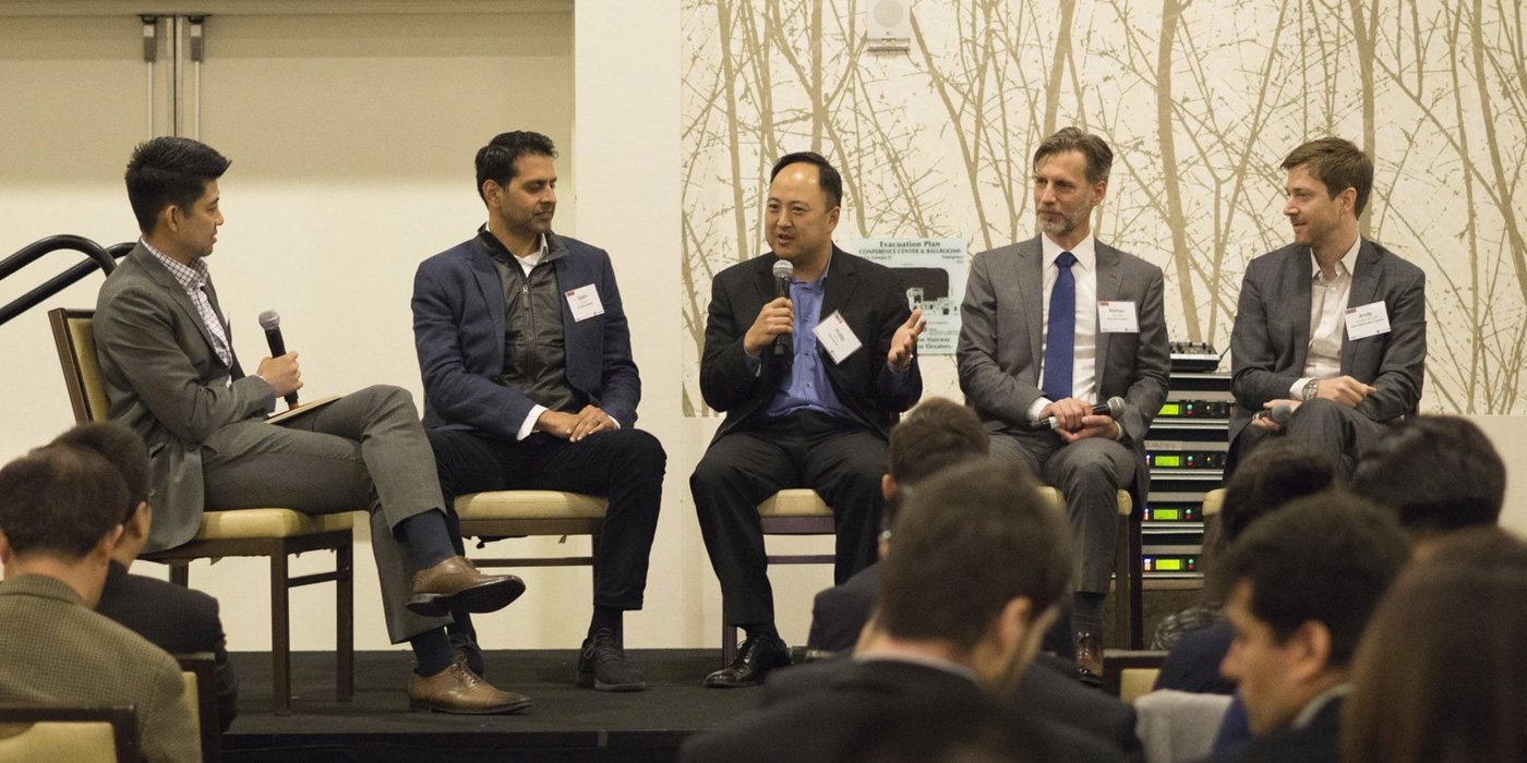 From Left: Jason Woo : GM & CSO at Next Generation Esports (NGE) (Panel Moderator),  Salim Mitha : Partner at Evolution Media,  Phillip Hyun : CEO Founder & Next Generation Esports (NGE),  Ramon Hermann : Director of Esports at Tencent America,  Vander Woude : CEO & Founder at Next Generation Esports (NGE)