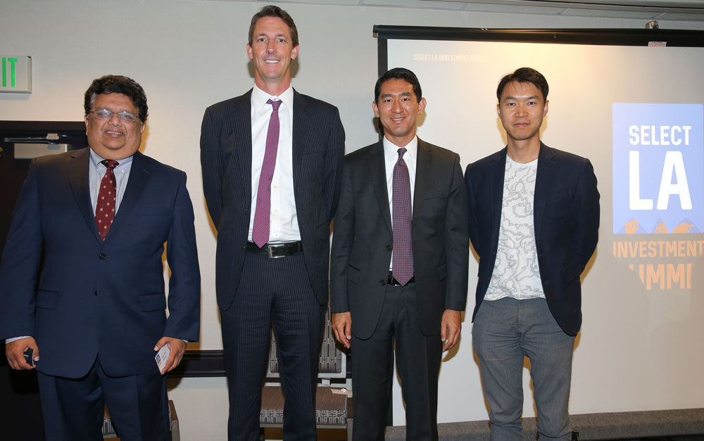 SELECT LA in Technology Panel with (left to right): Amberoon CEO  Shirish Netke , SolarReserve Chief Financial Officer & Senior Vice President of Operations  Stephen Mullennix , O'Melveny & Myers LLP Partner  Ryan Yagura , ObEN Cofounder & COO  Adam Zheng