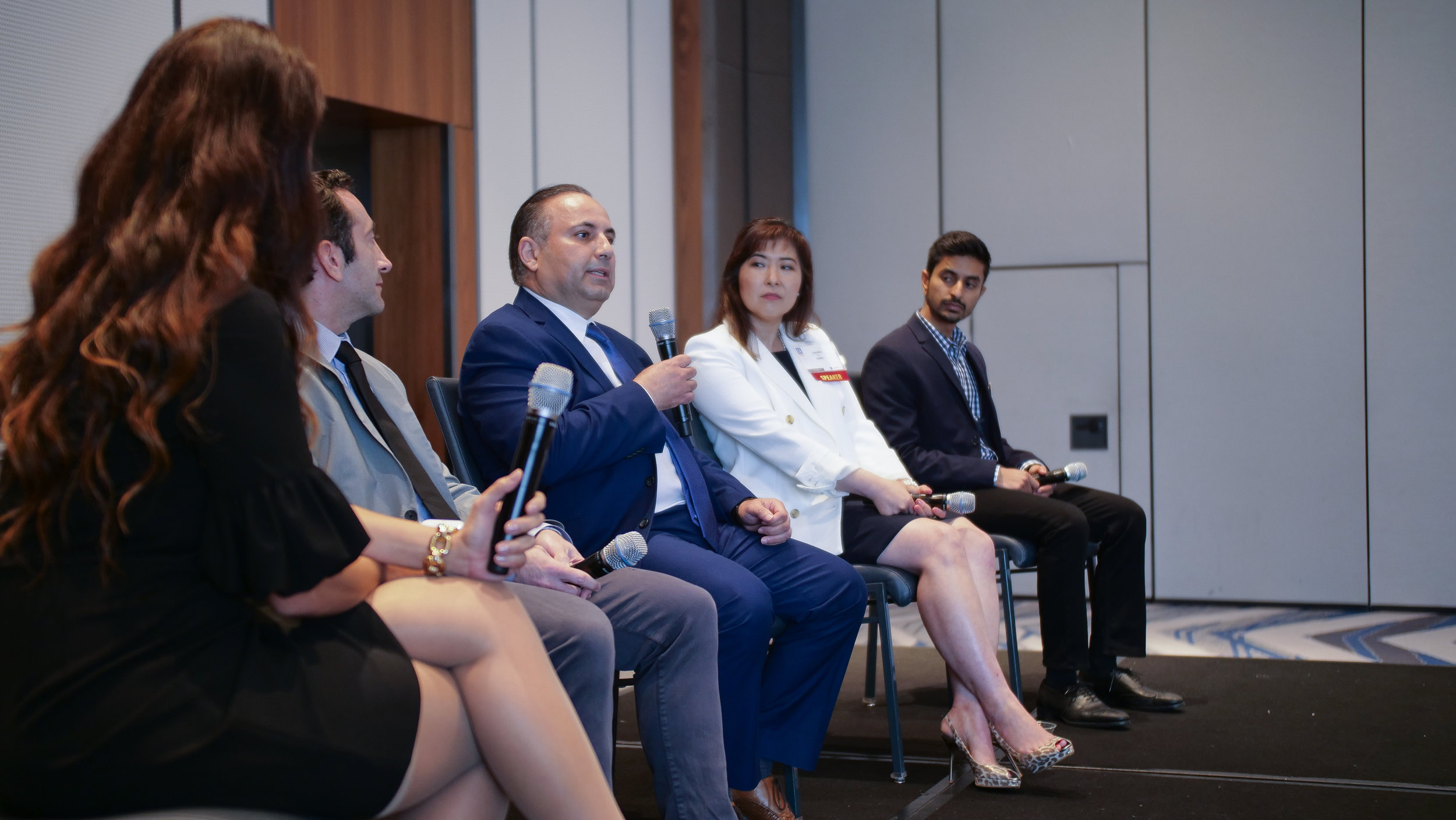 From left to right:  Co-Founder of Blockchain Lab Heidi Pease, Head of Product at Embodied, Inc Josh Anon, CEO of Beyond Limits AJ Abdallat, CEO of Global Blockchain Business Council Sandra Ro, CEO of First Resonance Karan Talati