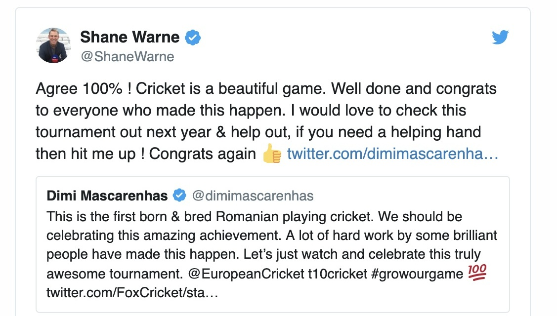 cnn international - European Cricket League: Pavel Florin gets backing from Shane Warne
