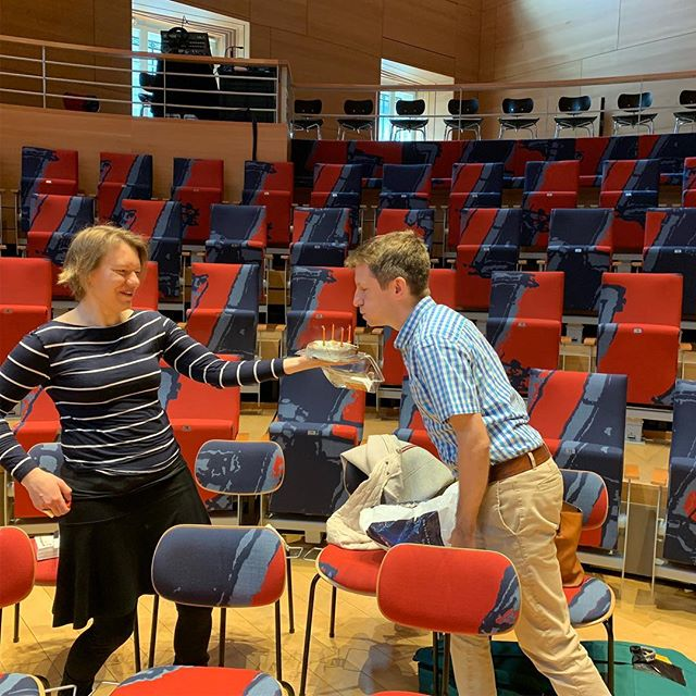 Phantasm preparing for tomorrow's performance with Elizabeth Kenny in Berlin's magnificent Pierre Boulez Saal with a birthday cake thrown in for good measure.